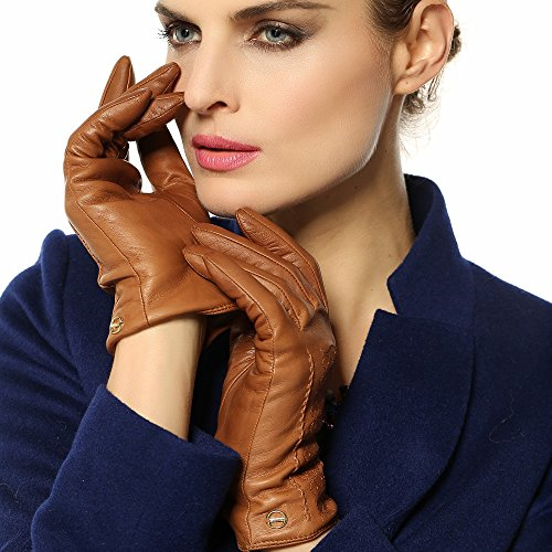 ELMA Women's Supple Nappa Leather Winter Warm Gloves Cashmere Lining Gold Plated Logo (M, Sand Yellow)