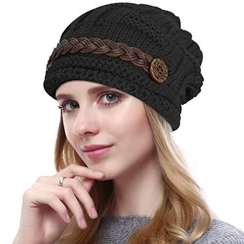 d326dfc78a346e YCHY Slouch Women hat Winter Baggy Snowboarding Knit Snow Warm Hat Beanie  Crochet Cap (Black