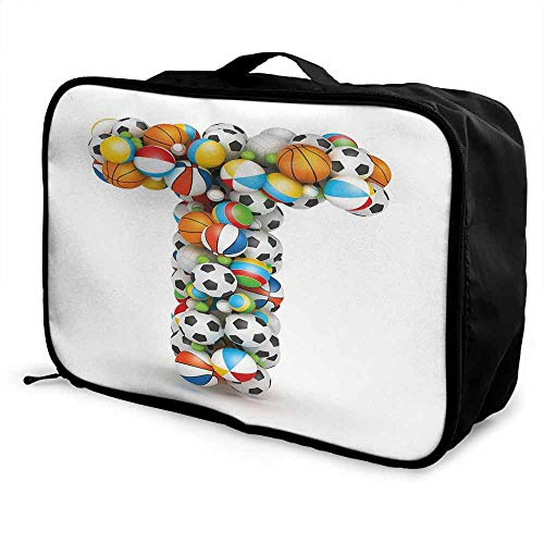 Letter T Luggage trolley bag Uppercase T with Big and Small Balls Children Motivation for Sports Competition Waterproof Fashion Lightweight Multicolor