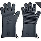 """☞ Summer Hot Sale: Advanced Men's Silicone Barbecue Gloves / Oven Mitts ★ Best Oven, BBQ & Grilling Heat Protection ★ 13.5"""" Long (1 Pair, Size L)"""