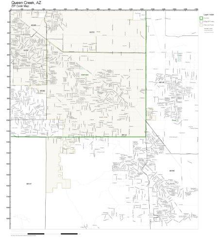 ZIP Code Wall Map of Queen Creek, AZ ZIP Code Map ()