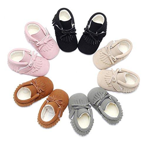 Upxiang Baby Quaste Bogen Baumwolle Stiefel Kurze Stiefel Kleinkind Baby Warm Martin Schuhe Neugeborenen Jungen Mädchen Winter Stiefel Krippe Prewalker Schuhe (0-18 Monate) Khaki