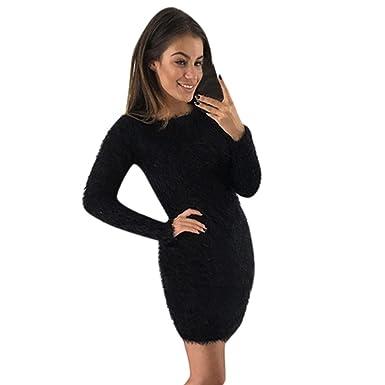Coper Womens Winter Solid Fleece Sweater Basic Short Mini Dress At