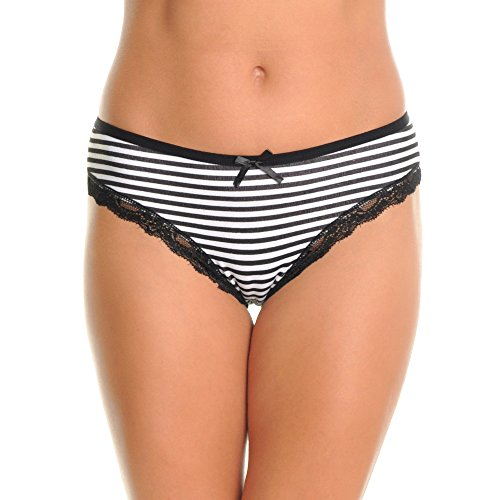 Womens Striped Panty (Angelina Cotton Bikini Panties with Striped Print Design (6-Pack), G6244_L)