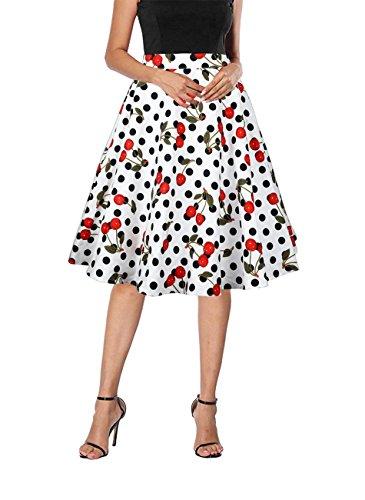 (Yanmei Women's Cherry Print Casual Midi Skirt Retro Rockabilly Polka Dot Skirt White X-Large 1086-8)