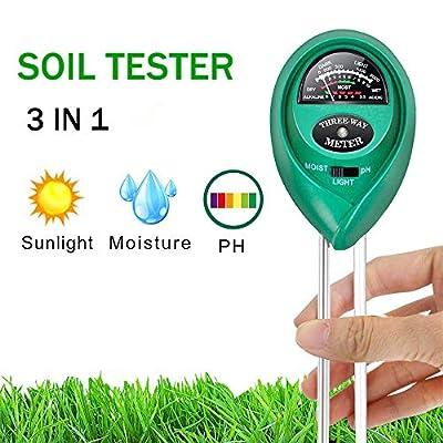 Hofun Soil pH Meter, 3-in-1 Soil Moisture/Light/pH Tester Gardening Tool Kits for Plant Care, Great for Garden, Lawn, Farm, Indoor & Outdoor Use