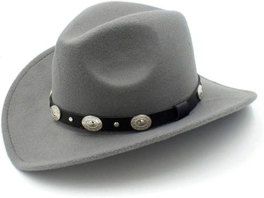 SANOMY Child Western Cowboy Hat Wide Brim Felt Hat Punk Leather Belt Jazz Cap Retro Outback Hat