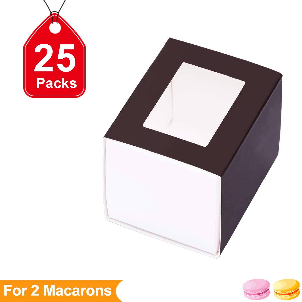 Macaron Boxes Macarons Boxes Macaroons Boxes Macaroon Boxes Macaroon Box Macarons Box for 2 Macaron Container Macaroon Packaging Boxes with Clear Window (Brown,25 units pack) by PACKHOME