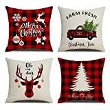 KACOPOL Red Black Buffalo Check Plaid Christmas Tree and Red Car Deer Pillow Covers Farmhouse Decorative Cotton Linen Throw Pillow Case Cushion Cover 18' x 18' Set of 4 (Buffalo Plaids-4 Pack)