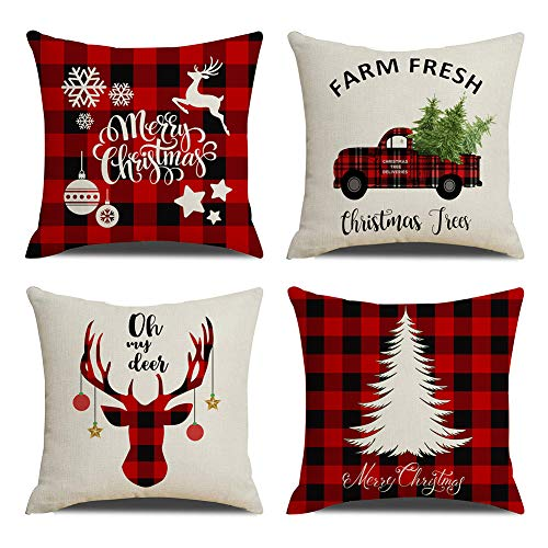 KACOPOL Christmas Decorations Pillow Covers Christmas Tree Snowflake Snowman Reindeer Home Decor Polyester Peach Throw Pillow Case Cushion Cover 18