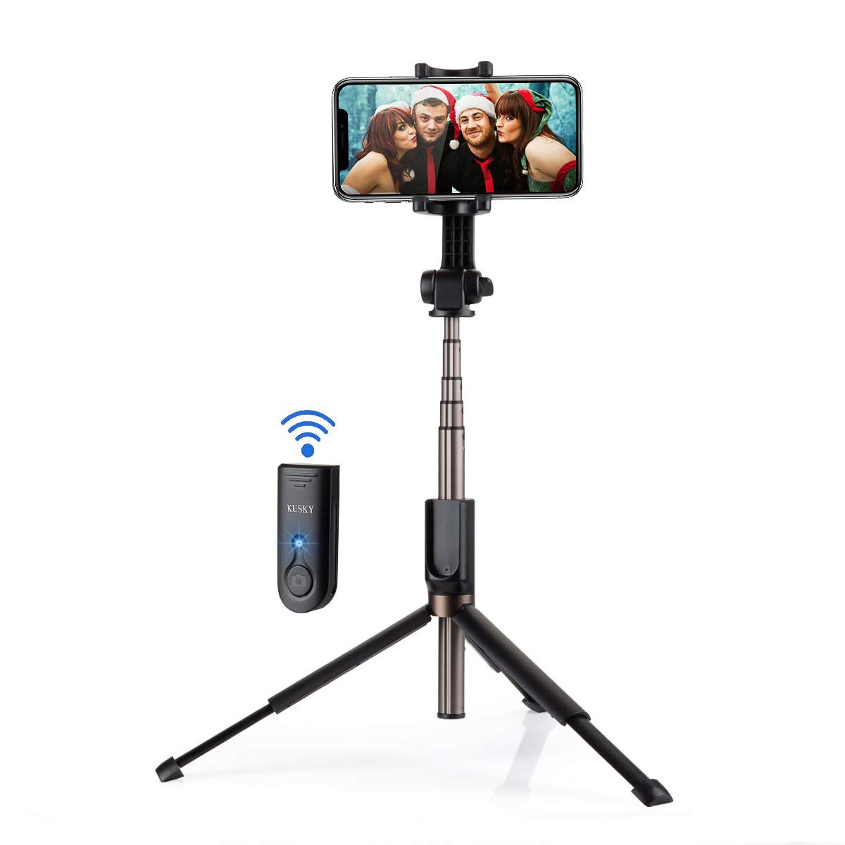 Selfie Stick Bluetooth, KUSKY Super Long Extendable Selfie Stick with Wireless Remote and Tripod for iPhone Xs MAX/XR/XS/X/iPhone 8/8 Plus/iPhone 6/Galaxy S9/S9 Plus/Note 8/S8 Google, Huawei and More