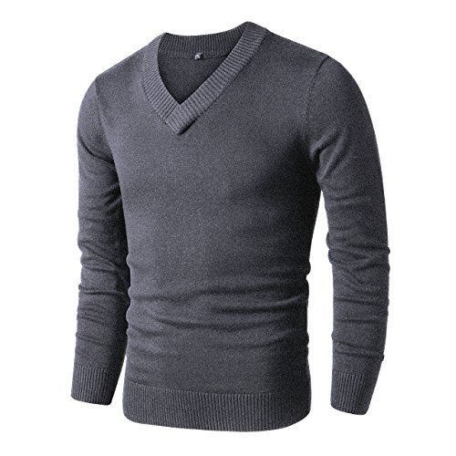LTIFONE Mens Slim Comfortably Knitted Long Sleeve V-Neck Sweaters (Dark -