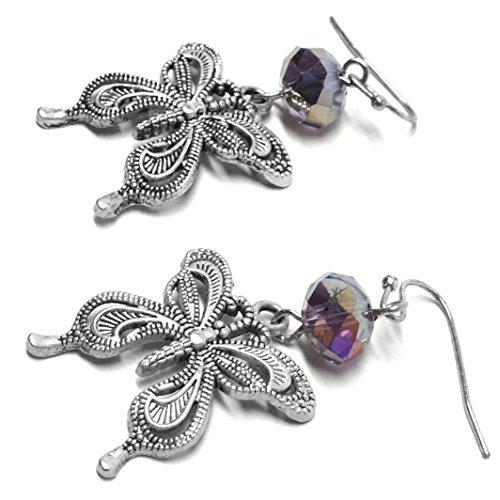 Pewter Filigree Butterfly Glass Bead Earrings Purple