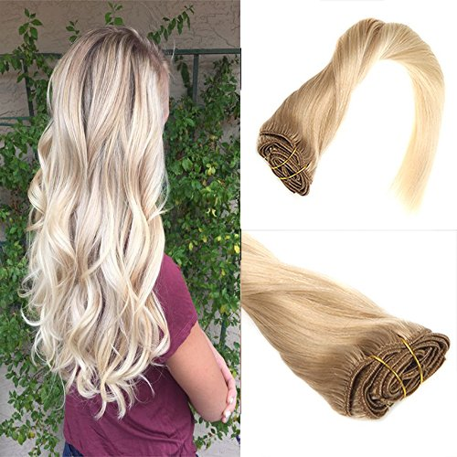 Sunny 18inch Blonde Balayage Clip In Extensions 12 Light Golden