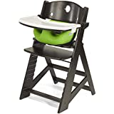 Keekaroo Height Right High Chair Espresso with Lime Infant Insert and Tray, Espresso/Lime