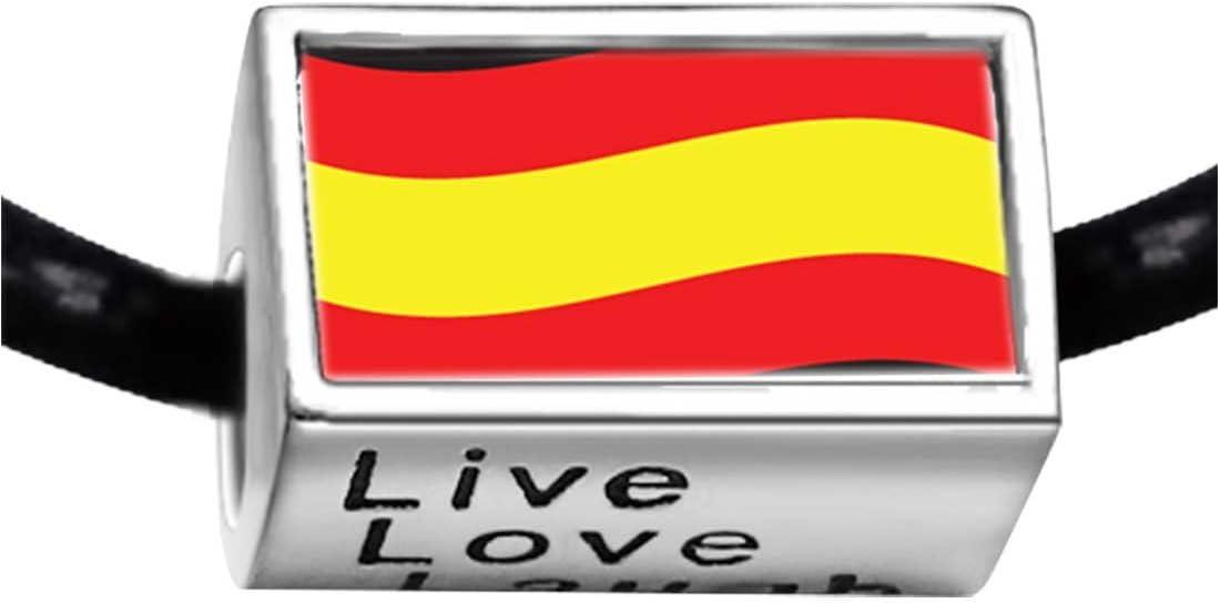 Chapado en plata de bandera de España foto Live Love Laugh encanto pulseras de cuentas Europea pulseras: Amazon.es: Hogar