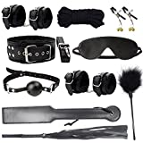 GEBDSM Sex Tools 10pcs Black Fabric Bondage Sets with Hand Cuff Ankle Cuff Cross Whip Nipple Clamps Blindfold Sex Slave Neck Collar Mouth Gag Bondage Rope Flirting Feathers BDSM Kit