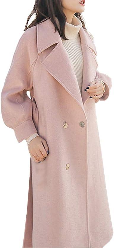 Millenniums Femme Manteau Longue Laine Cardigan Trench Bouton avec Ceinture Grande Taille Hiver Chic Parka Veste à Manches Longues Outwear Sport