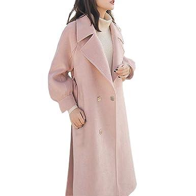 Kolylong Señorita Abrigo de Color Solido Mujer Abrigo Largo y Delgado Chaqueta Elegante Top de Lana Dados del cinturón Chaqueta de Moda Parker Parabrisas: ...