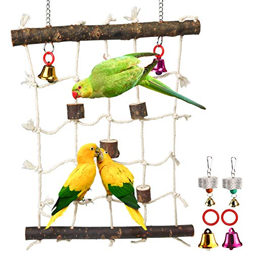 Parrot Climbing Ladder Toys,Bird Rope Wooden Ladder Swing Ladder Hanging Cage Perch Stand Chew Toys for Bird Parrot Conure Finch Cockatoo Budgie Lovebird Parakeets Cockatiels (H01)