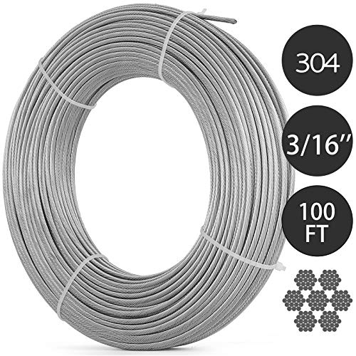 Mophorn 304 Stainless Steel Cable 3/16 Inch 7 X 19 Steel Wire Rope 100Feet Steel Cable for Railing Decking DIY Balustrade (3/16 Inch-100Feet)