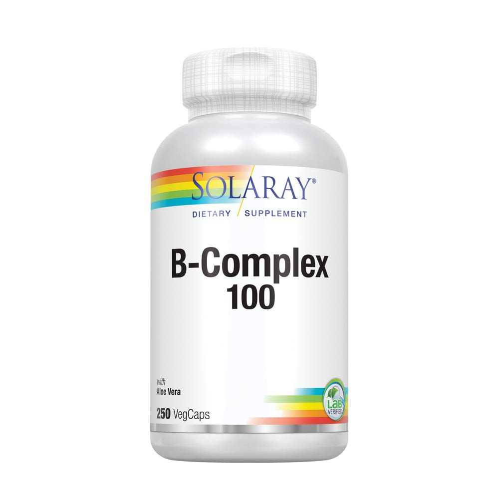 Solaray® Vitamin B-Complex 100 | Supports Healthy Hair & Skin, Immune System Function, Blood Cell Formation & Energy Metabolism | 250 VegCaps by Solaray