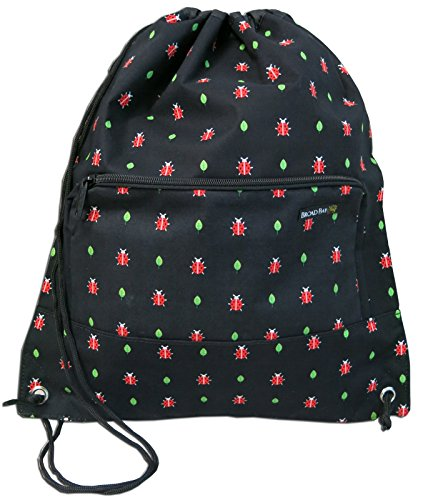 Ladybug Backpack Drawstring Ladybug Design Draw String Bag with WATERPROOF LINI