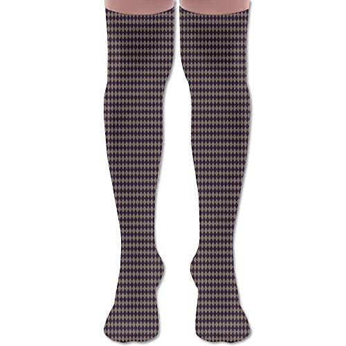 DFAUHAL Burlap and Purple Diamonds Halloween Shapes Fabric Knee High Graduated Compression Socks for Unisex - Best Medical, Nursing, Travel & Flight Socks - Running & Fitness
