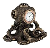 "5.5"" Steampunk Octopus Diving Bell Clock Gothic Decor Statue Sculpture Decor"