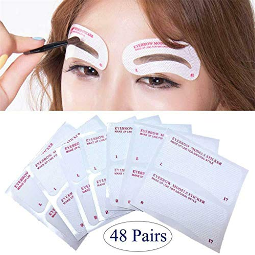 Yu2d  Premium Eyebrow Stencils Set 24 Pieces (48 Stickers)(Multicolor B)