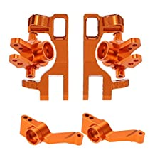 MagiDeal Set of Front Rear Steering Hub Carrier Kit for RC Racing 1:10 Car Traxxas Slash 4x4 Upgrade Parts Orange