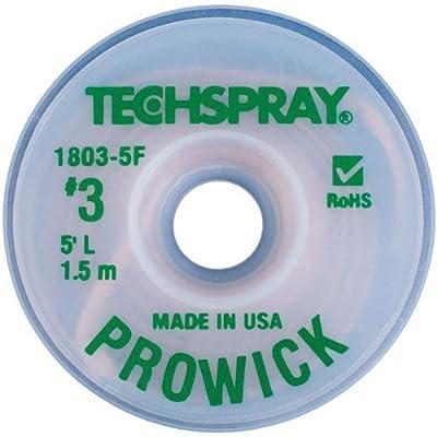 "Techspray 1803-5F Pro Wick Rosin Desoldering Braid, .075"", 5ft."