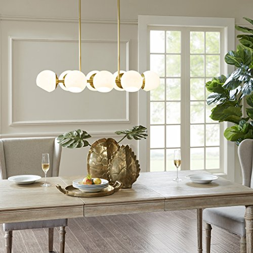 (Madison Park Signature MPS151-0088 Holloway Modern Pendant Gold Base, White Glass Shades 8 Chandelier Ceiling Dining Room Lighting Fixtures Hanging)
