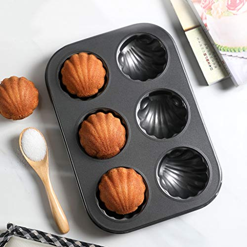 Round shell cake Baking pan Nonstick Bakeware, Carbon steel Loaf pans Quick release coating Cake mold Muffin dish-A 26x18.5x2.5cm