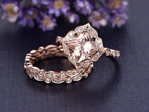 3PCS Solid 14K Rose Gold 7mm Princess Cut Pink Morganite Engagement Ring Set,Full Eternity Diamond Wedding Band,Milgrain,Reco Antique Wedding Promise Ring Set (Diamond Pink Ring Antique)
