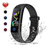 Warmwave Fitness Tracker, Slim Activity Tracker Heart Rate Monitor, IP68 Waterproof Step Counter, Calorie Counter, Pedometer Kids Women Men (Black)
