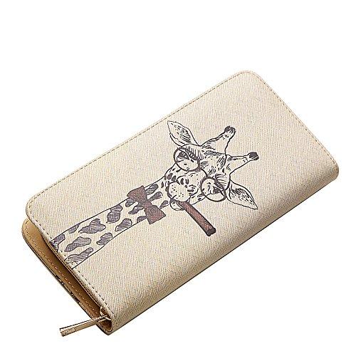 Womens Giraffe Print Wallet - Woolala Unique Illustration Wallet Zipper Accordion Clutch Long Purse, Giraffe