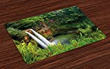 Ambesonne Landscape Place Mats Set of 4, Majestic Twin Wailua Waterfalls Kauai Hawai Greenery Forest Grass Nature Scenic View, Washable Fabric Placemats for Dining Room Kitchen Table Decor, Green