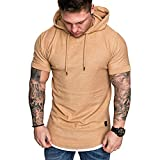 Forthery Mens Gym Hooded Jacket Raglan Solid Short Sleeve Tank Athletic Slim Fit Lightweight Workout Fitness Tops(Khaki,US Size L = Tag XL)