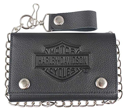 - Harley-Davidson Men's B&S Embossed Trucker Tri-Fold Plus Wallet XML3514-BLACK