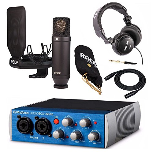 Rode NT1 Condenser Microphone Kit with Presonus 2x2 USB 2.0 / 96kHz Audio Interface, Studio Headphones and XLR Cable (External Mic Rode)