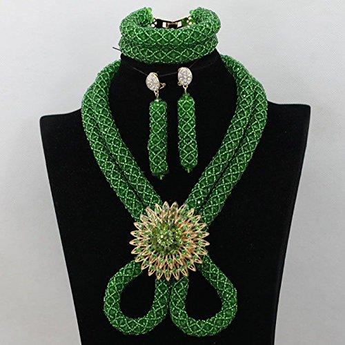 Nouveau design 2couches Vert Braid africain Perles Golden2Brooche Ensemble de bijoux Cadeau de mariage du Nigeria Cristal Collier Ensemble