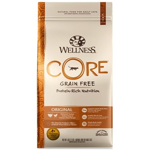Image of Wellness Core Natural Grain Free Dry Cat Food, Original Turkey & Chicken, 5.9-Pound Bag
