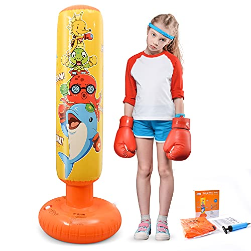 DJAM Inflatable Punching Bag for Kids, Free Standing Kids Boxing Bag to Exercise and Stress Relief in Children, Practice…