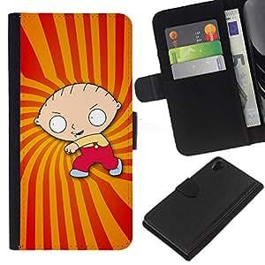 Sony Xperia Z2 D6502 D6503 D6543 L50t L50u , la tarjeta de Crédito Slots PU Funda de cuero Monedero caso cubierta de piel ( Cartoon Character Boy Drawing Childrens)