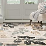 Lavish Home Opus Falling Leaves Area Rug, 8x10-Feet, Cream