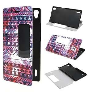 ivencase Ver Ventana Painting Art Tribal Estilo Diseño PU Cuero Stand Flip Funda Cubierta Protección-Móvil Casos Para Huawei Ascend P7