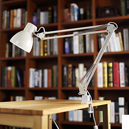 ToJane LED Long Swing Arm Desk Lamp Clamp Metal Architect Adjustable Folding Twin-Arm Clip-on Table Lamp - Arm Angle Lamp Table