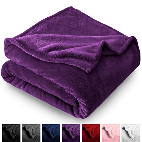 Bare Home Microplush Velvet Fleece Blanket - Twin/Twin Extra Long - Ultra-Soft - Luxurious Fuzzy Fleece Fur - Cozy Lightweight - Easy Care - All Season Premium Bed Blanket (Twin/Twin XL, Plum) (Blanket Throw Fleece College)