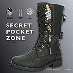 Minetom Femmes Bottines Militaire Fermeture Éclair Lacets Bottes de Combat Automne Hiver Chelsea Bottes Chaussures… 9